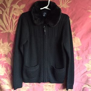 GAP Kids Black Faux Fur Collar Sweater, Size M (8)